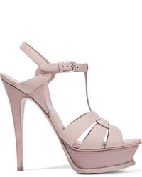 Saint Laurent Tribute Leather Platform Sandals Pastel Pink