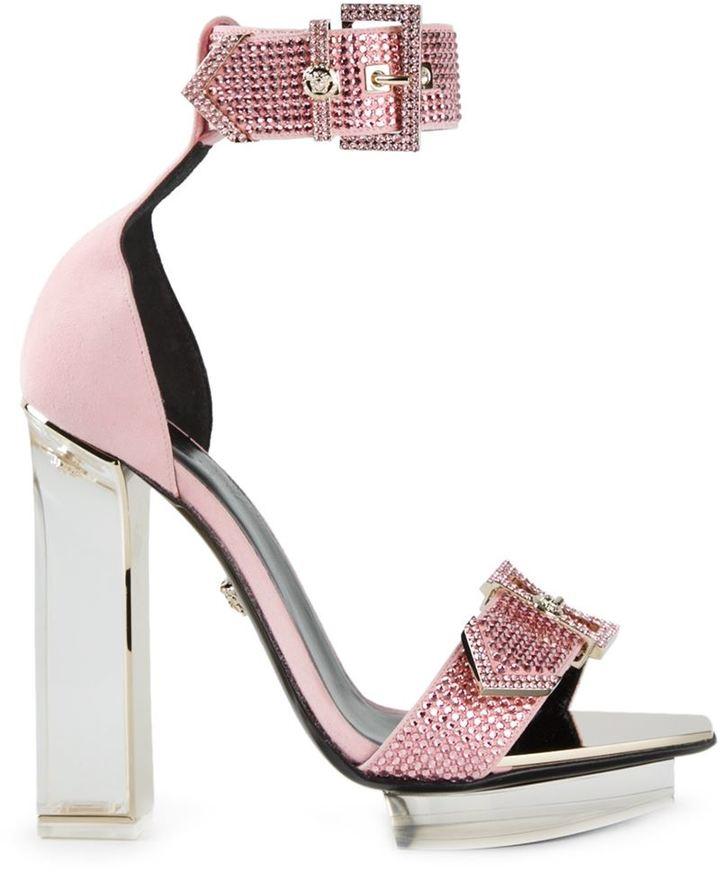 Versace Transparent Heel Sandals, $2