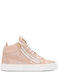 Pink Leather High Top Sneakers