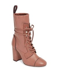 Pink Leather Lace-up Ankle Boots
