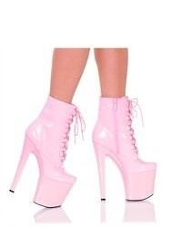 The highest heel highest heel shoes 7 12 platform lace up ankle bootie pink patent pu size 7 medium 55520