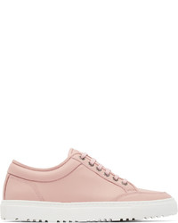 Pink Leather Low Top Sneakers