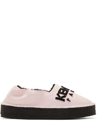 Kenzo Pink Shearling Leather Espadrille Sneakers
