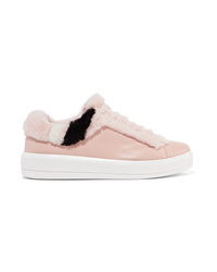 Prada Shearling Trimmed Leather Sneakers