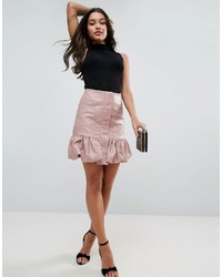 Bubble hem mini skirt in leather look medium 1194090