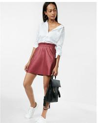 High waisted leather elastic waist mini skirt medium 5026356