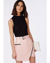 Missguided Buckle Detail Faux Leather Mini Skirt Nude Pink | Where ...