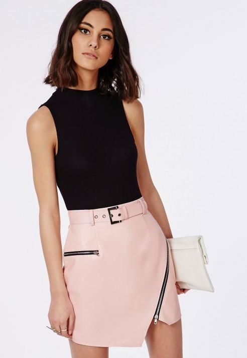 Missguided Belted Faux Leather Asymmetric Mini Skirt Pink | Where ...