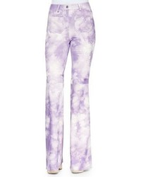 Michael Kors Michl Kors Collection Tie Dye Leather Bell Bottom Pants Wisteria