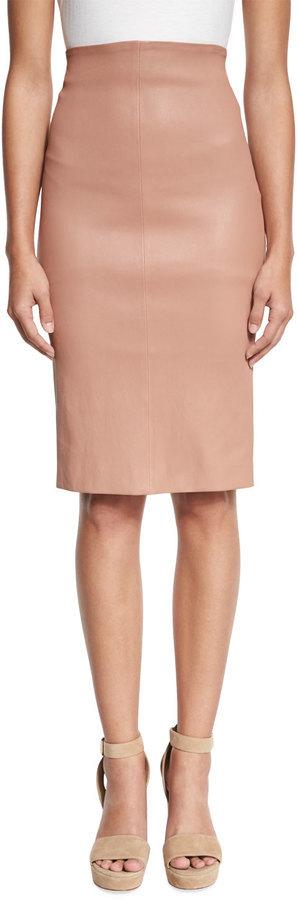 Brunello Cucinelli High Waist Leather Pencil Skirt Blossom