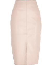 River Island Pink Leather Look Split Front Pencil Skirt