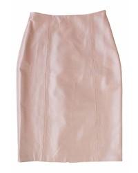 Plakinger Pink Leather Pencil Skirt