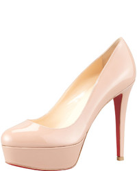 Christian Louboutin Bianca Patent Leather Platform Red Sole Pump Nude