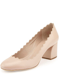 Chloé Chloe Scalloped Leather Pump Pink Tea