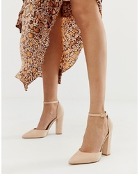 Aldo Nicholes Block Heeled Court Shoes With In Beige
