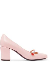 Fendi Rainbow Leather Mary Jane Pumps Pink