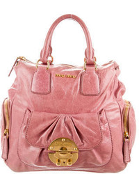 Miu Miu Distressed Leather Satchel