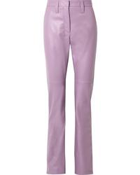 Miu Miu Leather Straight Leg Pants