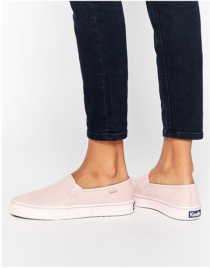 3fa2741b0879 ... Keds Double Decker Washed Leather Pale Pink Slip On Sneakers ...