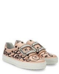 Roger Vivier Sneaky Viv Love Paris Leather Slip On Sneakers