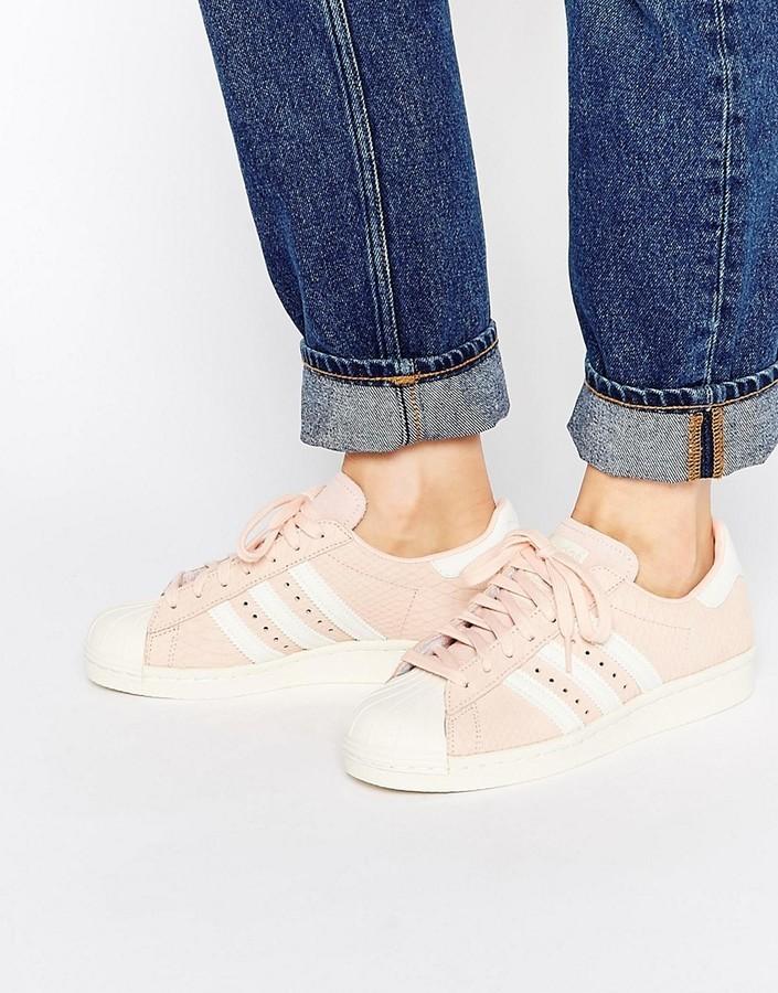 ... adidas Originals Blush Pink Superstar 80s Sneakers ... f1cab81c77