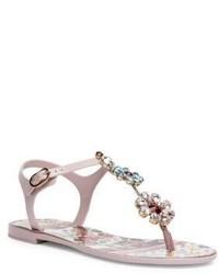 Dolce & Gabbana Carretto Jeweled T Strap Sandals
