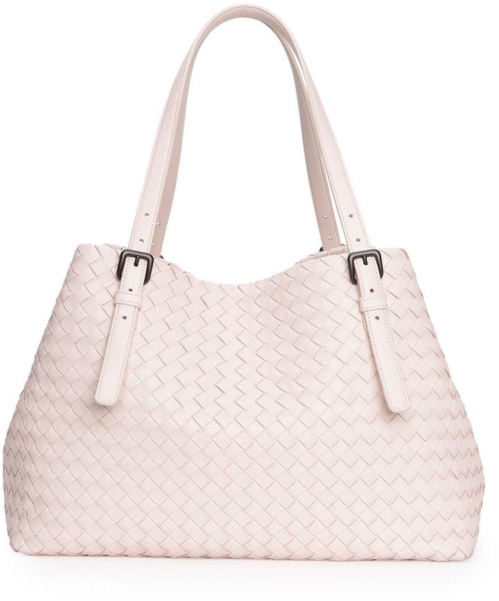 Bottega Veneta A Shape Woven Tote Bag Pale Pink