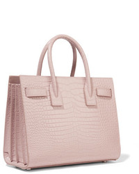 5041e151f74 ... Saint Laurent Sac De Jour Baby Croc Effect Leather Tote Blush ...