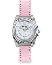 Breil Milano Breil Manta Stainless Steel Crystal Mother Of Pearl Leather Strap Watch