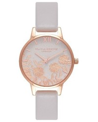 Lace detail leather strap watch 30mm medium 4952357