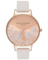 Olivia Burton Lace Detail Leather Strap Watch 38mm