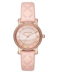 Michael Kors Michl Kors Petite Norie Crystal Accent Leather Strap Watch 28mm