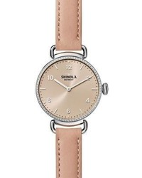 Shinola The Canfield Diamond Stainless Steel Leather Strap Watch