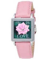Proenza Schouler The Ps Collection By Arjang And Co Ps 2002s Pk Love Rose Pink Leather Square Watch