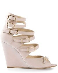 Pink Leather Wedge Sandals
