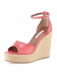 Tabitha Simmons Harp Eyelet Leather Wedge Sandal Coral