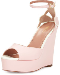 RED Valentino Leather Platform Wedge Sandal Light Pink