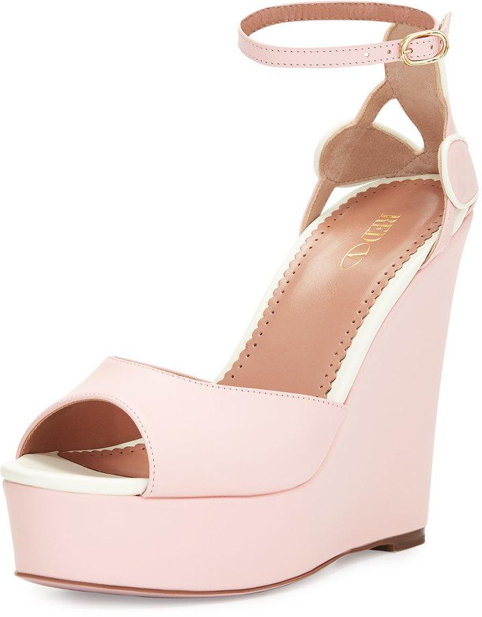 RED Valentino Leather Platform Wedge Sandal Light Pink