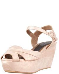 Marni Metallic Leather Platform Wedge Sandal Light Pink