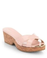 Jimmy Choo Panna Patent Leather Cork Wedge Slides