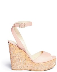 Jimmy Choo Patara Cork Wedge Leather Sandals
