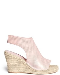 Nobrand Perforated Leather Espdarille Wedge Sandals
