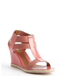 Fendi Pink Patent Leather Nylon Accent Wedge Sandals
