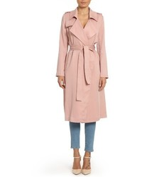 Faux leather trim long trench coat medium 3753621