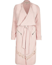 River Island Pink Crepe Lace Panel Trench Coat
