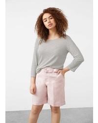 Violeta BY MANGO Belt Linen Blend Bermuda Shorts