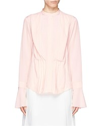 Chloé Chlo Split Cuff Silk Crepe Pleat Blouse