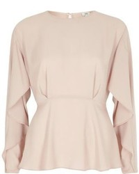 River Island Light Pink Frill Long Sleeve Blouse