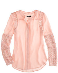 J.Crew Silk Georgette Lace Blouse
