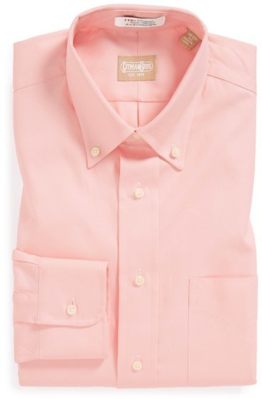 Pink long sleeve shirt gitman regular fit pinpoint cotton for Pinpoint button down dress shirt